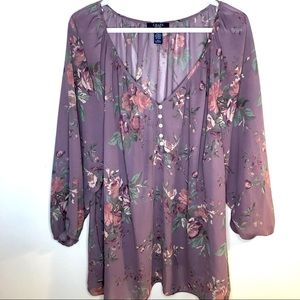 Chaps purple flowy floral peasant blouse with balloon sleeves size 3XL